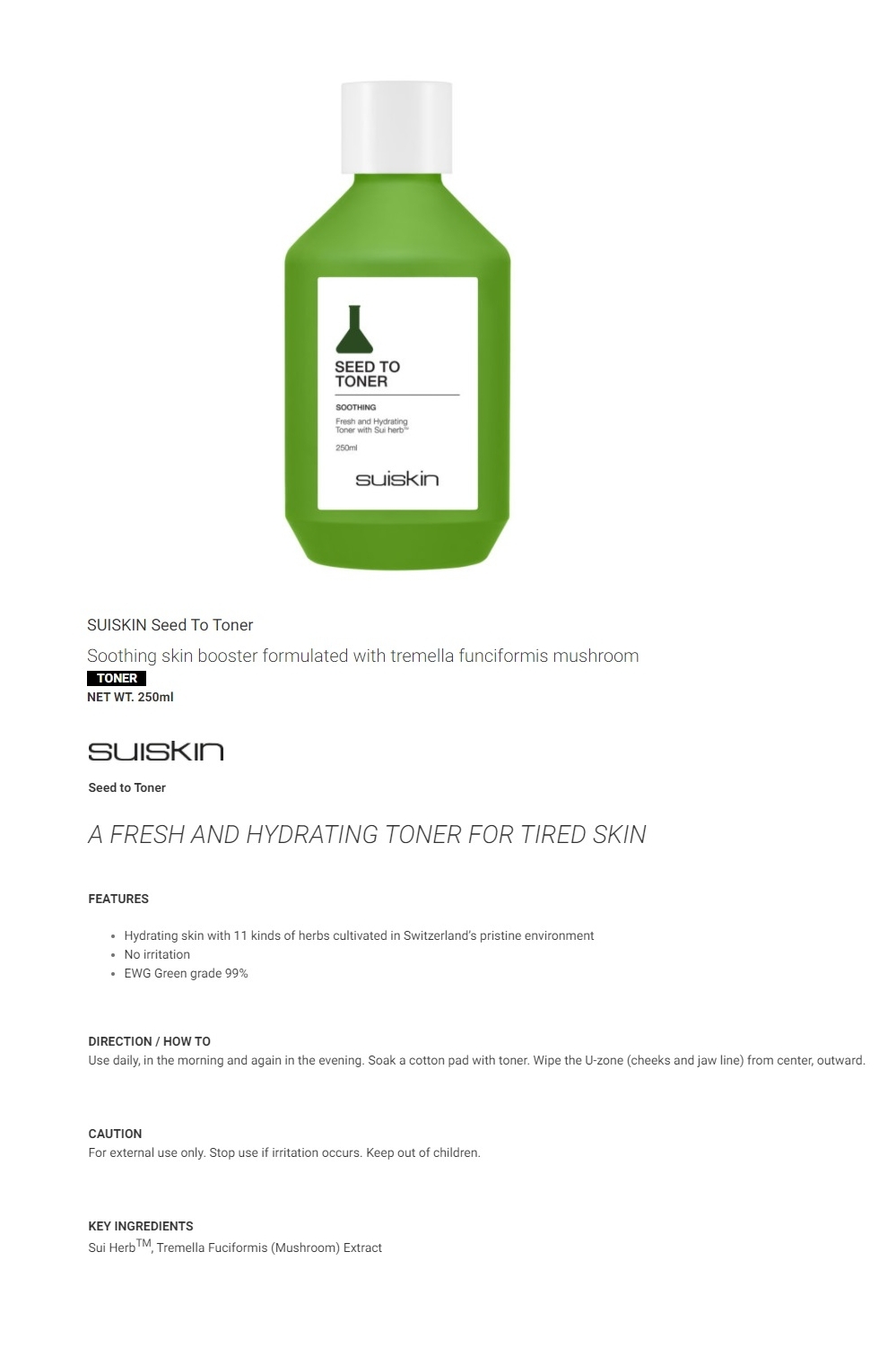 Seed To Soothing Toner 250ml