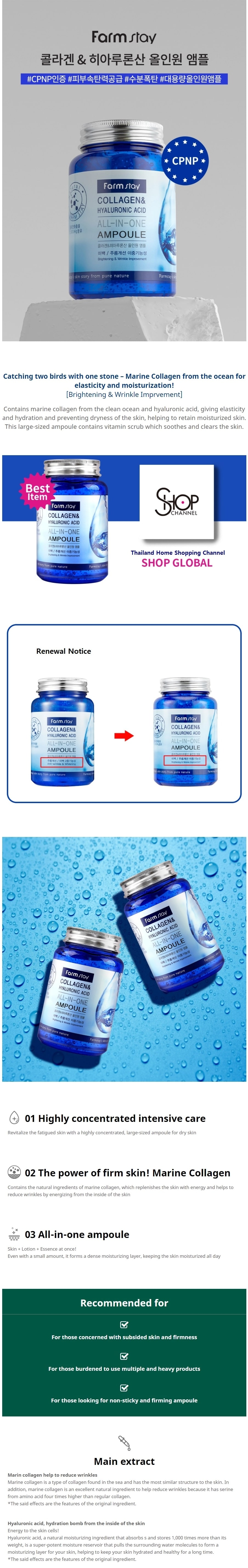 Collagen And Hyaluronic Acid All in One Ampoule 250ml