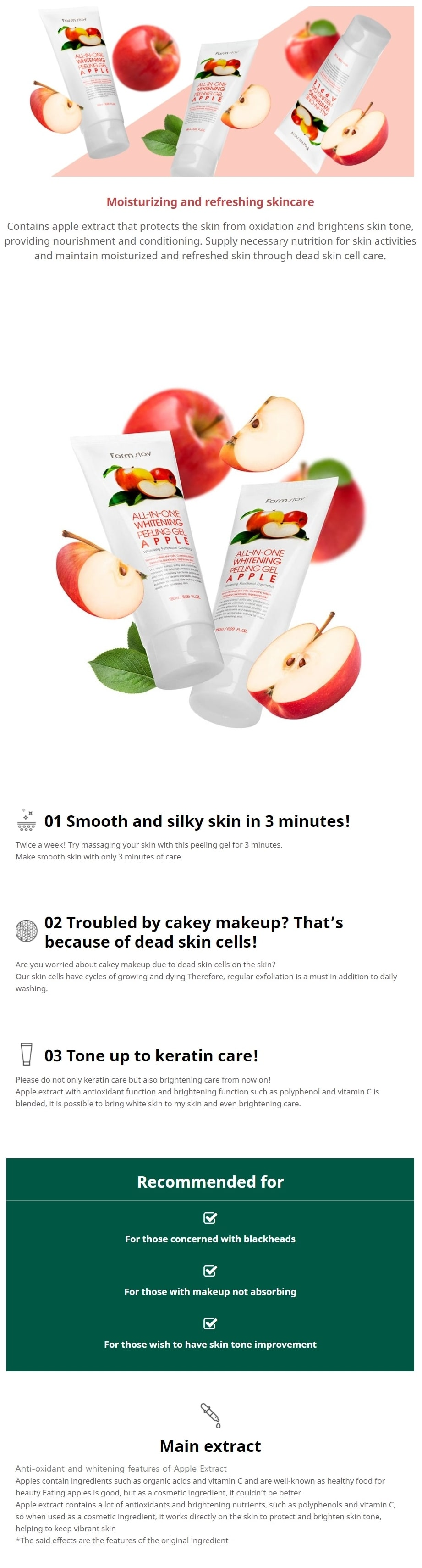 All In One Whitening Peeling Gel – Apple 180ml